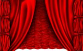 red silk curtain with shadows