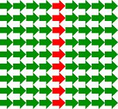 Green and white arrows pointing to opposite directions, with a red row in the middle, seamless pattern