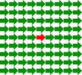 Green and white arrows pointing to opposite directions, with a red one in the middle, seamless pattern