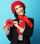 picture of french beret  - Beautiful girl in a red beret - JPG
