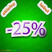 25 Percent Discount Icon Sign. Symbol Chic Colored Sticky Label On Green Background. Vector