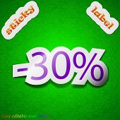 30 Percent Discount Icon Sign. Symbol Chic Colored Sticky Label On Green Background. Vector