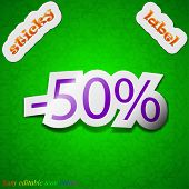 50 Percent Discount Icon Sign. Symbol Chic Colored Sticky Label On Green Background. Vector