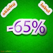 65 Percent Discount Icon Sign. Symbol Chic Colored Sticky Label On Green Background. Vector