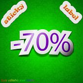 70 Percent Discount Icon Sign. Symbol Chic Colored Sticky Label On Green Background. Vector