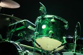 image of drums  - Drums on stage with on black background