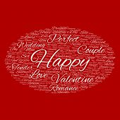 Concept or conceptual white wordcloud text in shape of ellipse symbol isolated on red background, metaphor to love, romance, passion, romantic, emotion, marriage, valentine, desire or affection