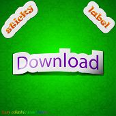 Download Now Icon Sign. Symbol Chic Colored Sticky Label On Green Background. Vector