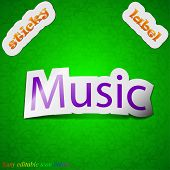 Music Icon Sign. Symbol Chic Colored Sticky Label On Green Background. Vector