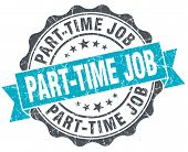 Part-time Job Vintage Turquoise Seal Isolated On White