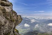 stock photo of bavarian alps  - View from a mountain in the bavarian alps - JPG