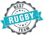 Rugby Vintage Turquoise Seal Isolated On White