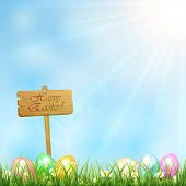 Easter Background With Wooden Sign