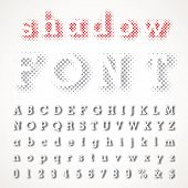 vector dotted shadow raster font