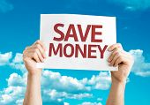 Save Money card with sky background