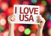 I Love USA card with colorful background with defocused lights