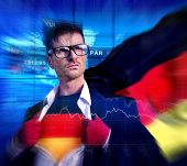 Superhero Businessman German Stock Market Concept