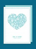 Vector blue and white lace garden plants heart symbol frame pattern invitation greeting card templat