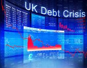 UK Debt Crisis Economic Stock Market Banking Concept