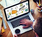 Businessman Laptop Planning Marketing Brand Concept