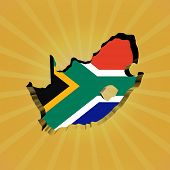 South Africa sunburst map with flag illustration