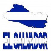 El Salvador map flag and text illustration