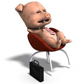 cute toon pig relaxes after a hard working