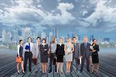 Group of business people team over urban background