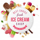 Ice cream shop label with type design and ice cream