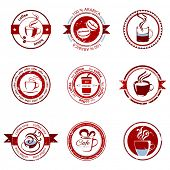 9 decorative coffee stamps over white background