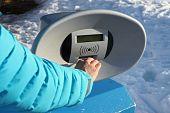 Girl Hand Close To Turnstile Machine During Winter Ski