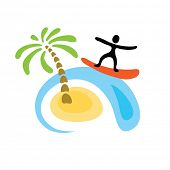 surfer and the wave, vector logo illustration