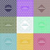 Vector set of outline emblems and badges - abstract hipster logo templates