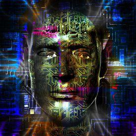 image of cyborg  - Cyborg artwork with computer electronics - JPG