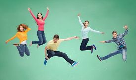 foto of jumping  - happiness - JPG