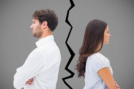 pic of not talking  - Upset couple not talking to each other after fight against grey - JPG