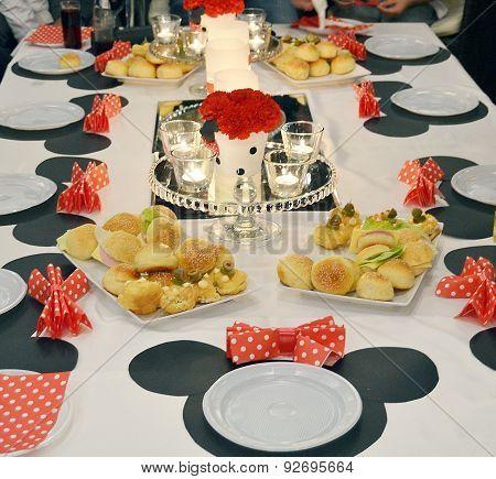 Cartoon decorated girl birthday table