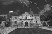 foto of texans  - A stormy night at the Alamo San AntonioTexas in black and white - JPG