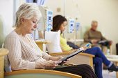 picture of chemotherapy  - Senior Woman Undergoing Chemotherapy In Hospital - JPG