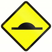 stock photo of bump  - Warning road sign in Indonesia - JPG