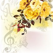 picture of treble clef  - Music watercolor background with notes treble clef and beige roses - JPG
