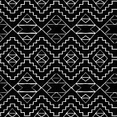 image of native american ethnicity  - Vector seamless ethnic pattern with american indian motifs in black and white colors - JPG