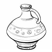 foto of pitcher  - Black and white sketch of stylized retro eastern pitcher on a white background - JPG