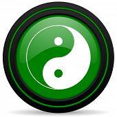 stock photo of ying yang  - ying yang green icon  - JPG