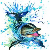 stock photo of dolphin  - Funny dolphin with watercolor splash textured background - JPG