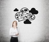 foto of wall cloud  - Young business lady is thinking about expanding of the business ideas - JPG