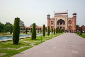 image of india gate  - Front gate to Taj Mahal famous historical monument in Agra India - JPG