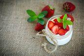 stock photo of yogurt  - sweet delicious homemade yogurt with fresh strawberries - JPG