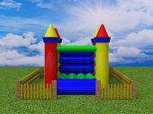 image of yellow castle  - bouncy castle 3d render image colour toy - JPG