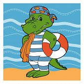 pic of crocodile  - Color cartoon vector character  - JPG
